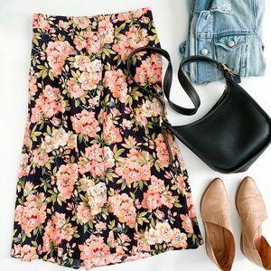 LOFT Floral Button Down Midi Skirt